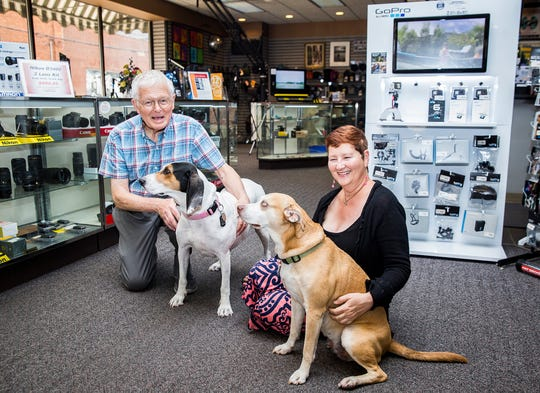 Mike and Sherry Powell at Jack's Camera Shop, and the location of their downtown apartment in Muncie.