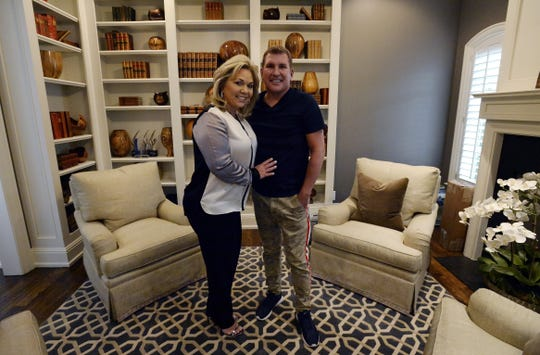 Reality TV stars Todd Chrisley and his wife, Julie, at their home in Belle Meade, Tennessee, in 2018.