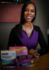 Lakisha Simmons has started the Period Project to help disadvantaged young girls find the products they need when they have their period Monday, Aug. 13, 2018, in Nashville, Tenn.