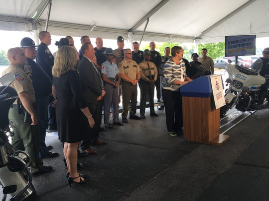 "Heidi King announces the National Highway Traffic Safety Administration's new campaign slogan, ""If You Feel Different, You Drive Different."" King, NHTSA's acting director, is resigning, effective Aug. 31."