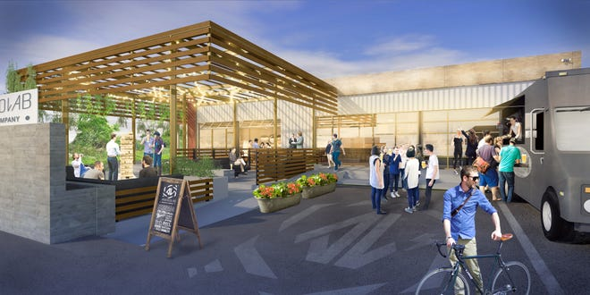 A rendering of the beer garden terrace and food truck planned for the rear of Ankrolab Brewing Co. on Bayshore Drive in East Naples.