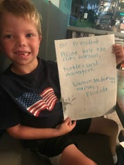 Eamon McDermott, 6, wrote a letter to President Donald Trump to help draw attention to the sea life dying during two simultaneous algal blooms.