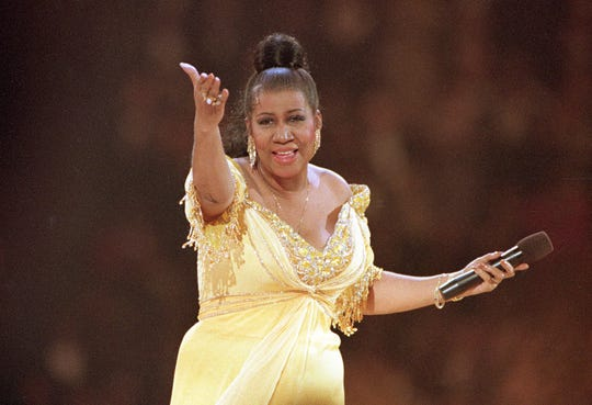 Singer Aretha Franklin performs at the inaugural gala for President Bill Clinton in Washington. in 1993.