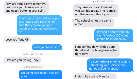 "Screenshots of text messages exchanged between David Bell (gray) and Anthony ""Tony"" Asatrian (blue) on July 28, 2016 and Nov. 30, 2016."