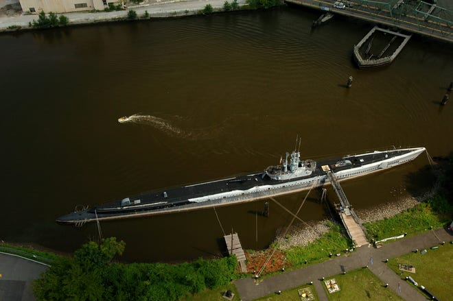 An aerial view of the Hackensack River, in Hackensack, behind the Heritage Diner.