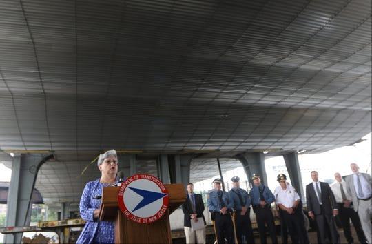 New Jersey Department of Transportation Commissioner, Diane Gutierrez-Scaccetti, is shown under the Route 495 Bridge, which leads to the helix and the Lincoln Tunnel.   Gutierrez-Scaccetti, was there for a press conference to announce lane closures of the bridge starting this Friday.  The closures, which will take place for approximately two-and-a-half years, is the result of construction being done of the bridge.  Gutierrez-Scaccetti strongly urged motorists to take mass transportation. Tuesday, August 13, 2018