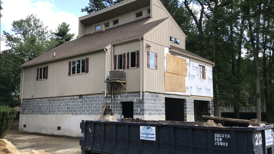 This flood-prone home on Roosevelt Street in Pequannock was recently elevated. So far a total of $9 million in Federal Emergency Management Agency grant funding has been allocated so that 48 homes can be lifted.