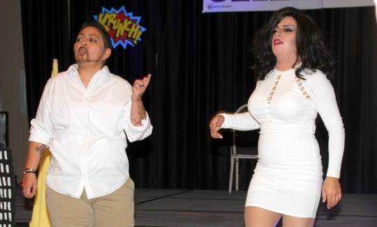 The reigning Mr. and Miss Deming Pride, Alyx D'Angelo and Canela D'Angelo, performed together during the sixth annual Deming Pride Celebration.