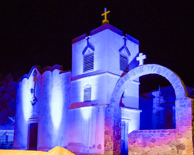 Our Lady of Purification Catholic Church in the village of Doña Ana was lit Saturday, the night before patrons celebrated with a festival in honor of Nuestra Señora de la Candelaria (Our Lady of Purification).