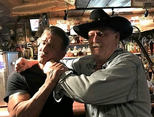 """Sylvester Stallone posed at Deming's Adobe Deli with owner Van Jacobsen. Stallone filmed scenes for """"Creed II"""" in Luna County."""