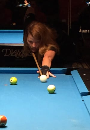 Las Crucen Melissa Smith competing in the BCA Women's 8-Ball Singles Silver Division, where she took first place.