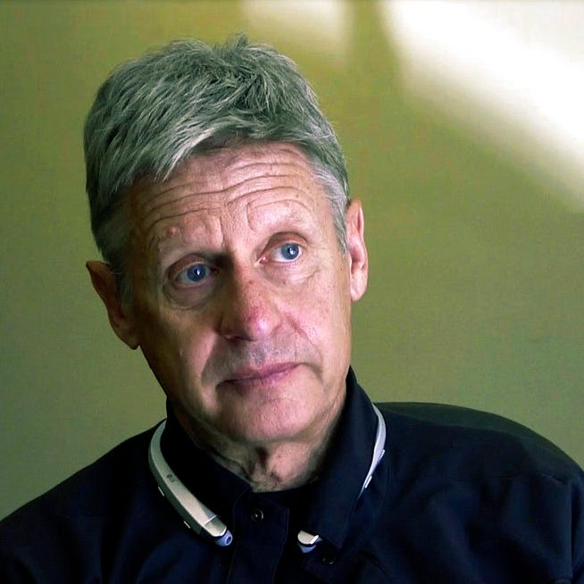 This Oct. 10, 2016 file photo taken from a video screen grab shows then-Libertarian presidential candidate and former New Mexico Gov. Gary Johnson being interviewed in Santa Fe, N.M. Former Libertarian presidential candidate Gary Johnson is campaigning to unseat New Mexico's junior Democratic U.S. senator, seeking political opportunity in the space between Democrats and voters loyal to President Donald Trump. Johnson's name appeared Tuesday, Aug. 14, 2018, on the state's list of Senate candidates. Johnson still holds a vaunted place in New Mexico politics as a former two-term governor.