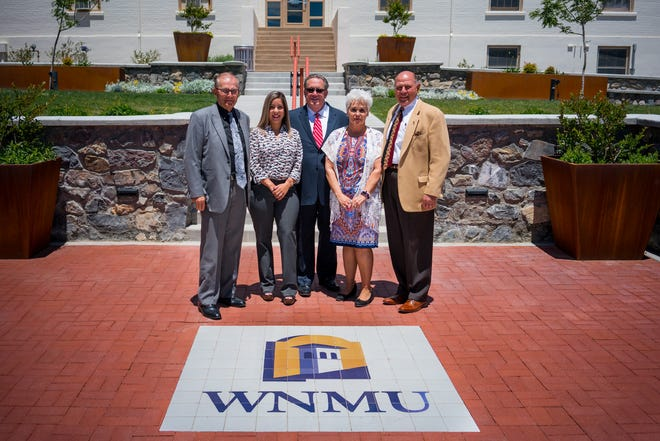 The Western New Mexico University Board of Regents met on campus  Friday, August 10. Pictured, from left, are the regents. Dan Salzwedel, Arlean Murillo, Jerry A. Walz, Janice Baca-Argabright and Carl Foster.