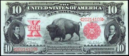 The buffalo $10 gave way to Alexander Hamilton, the first Secretary of the U.S, Treasury