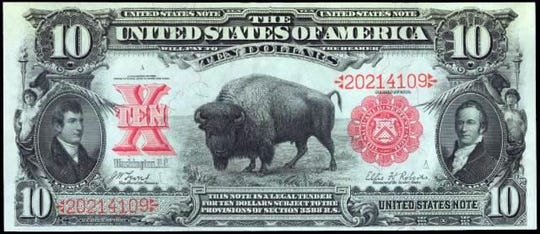 The buffalo $10 gave way to Alexander Hamilton, the first Secretary of the U.S, Treasury