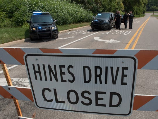 Dearborn Heights Police block the Hines Drive entrance at Inkster Road.