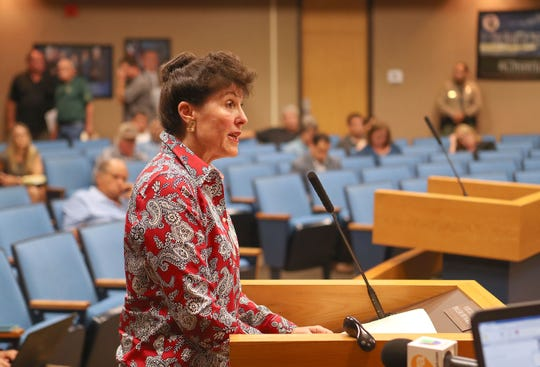 Paula Pangle addresses the Imperial County Board of Supervisors in El Centro on Aug. 14, 2018.