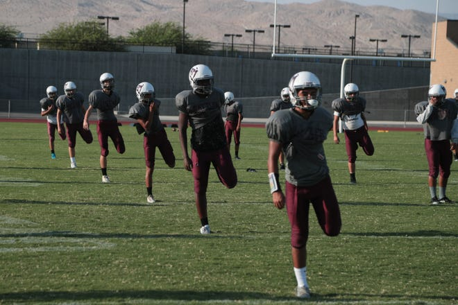 The Rancho Mirage High School football has one of their last summer practices before the start of their fall season, August 14, 2018.