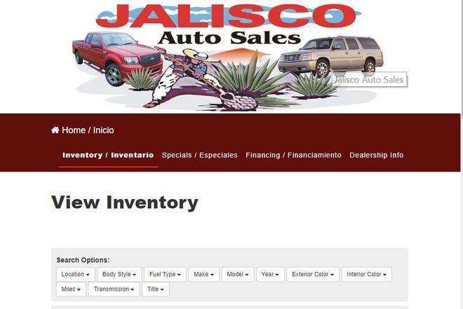 Jalisco Auto Sales' website