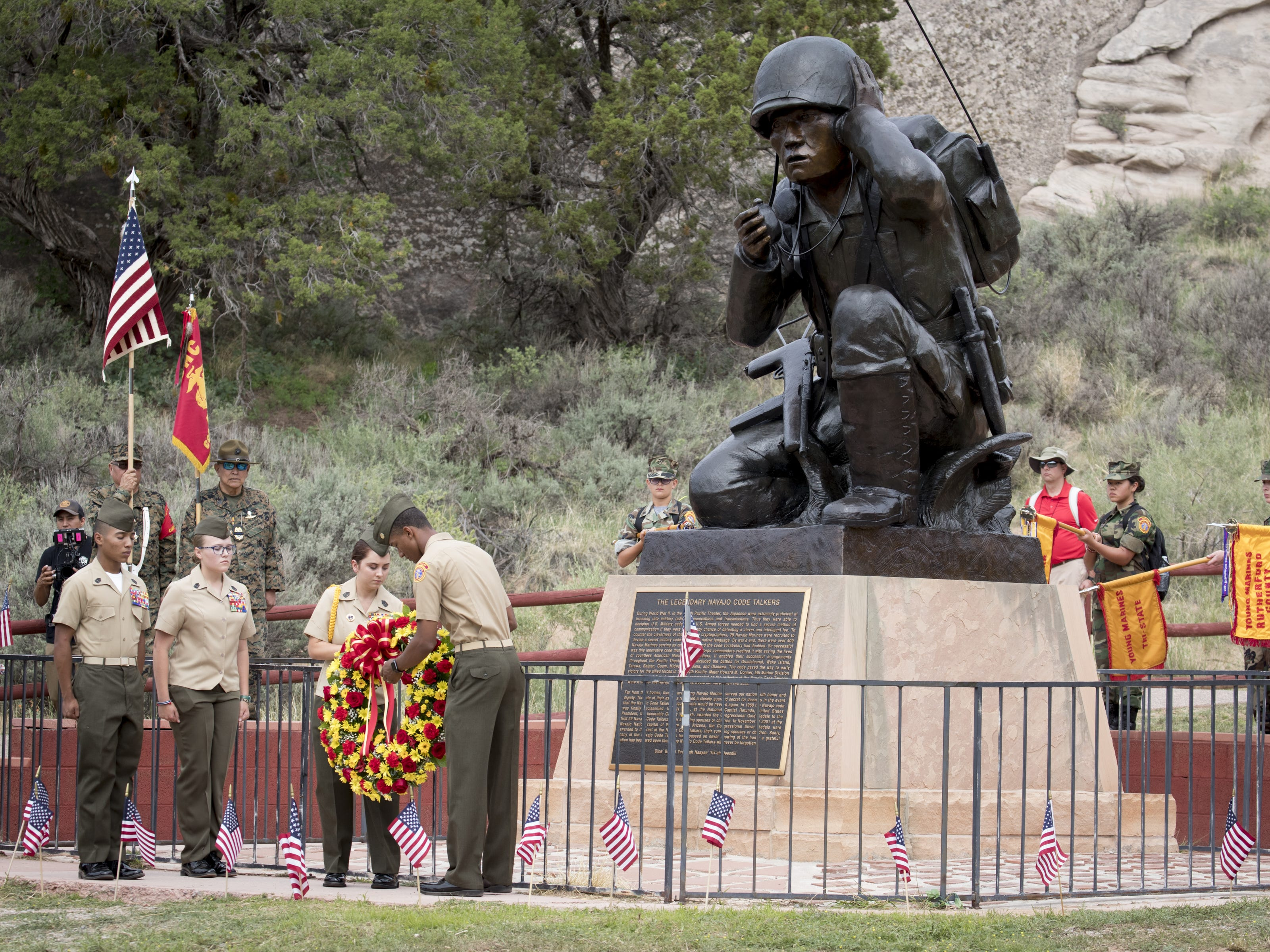 The Navajo Nation Code Talkers Day wreath ceremony on Aug. 14, 2018, at the Veterans Memorial Park in Window Rock.