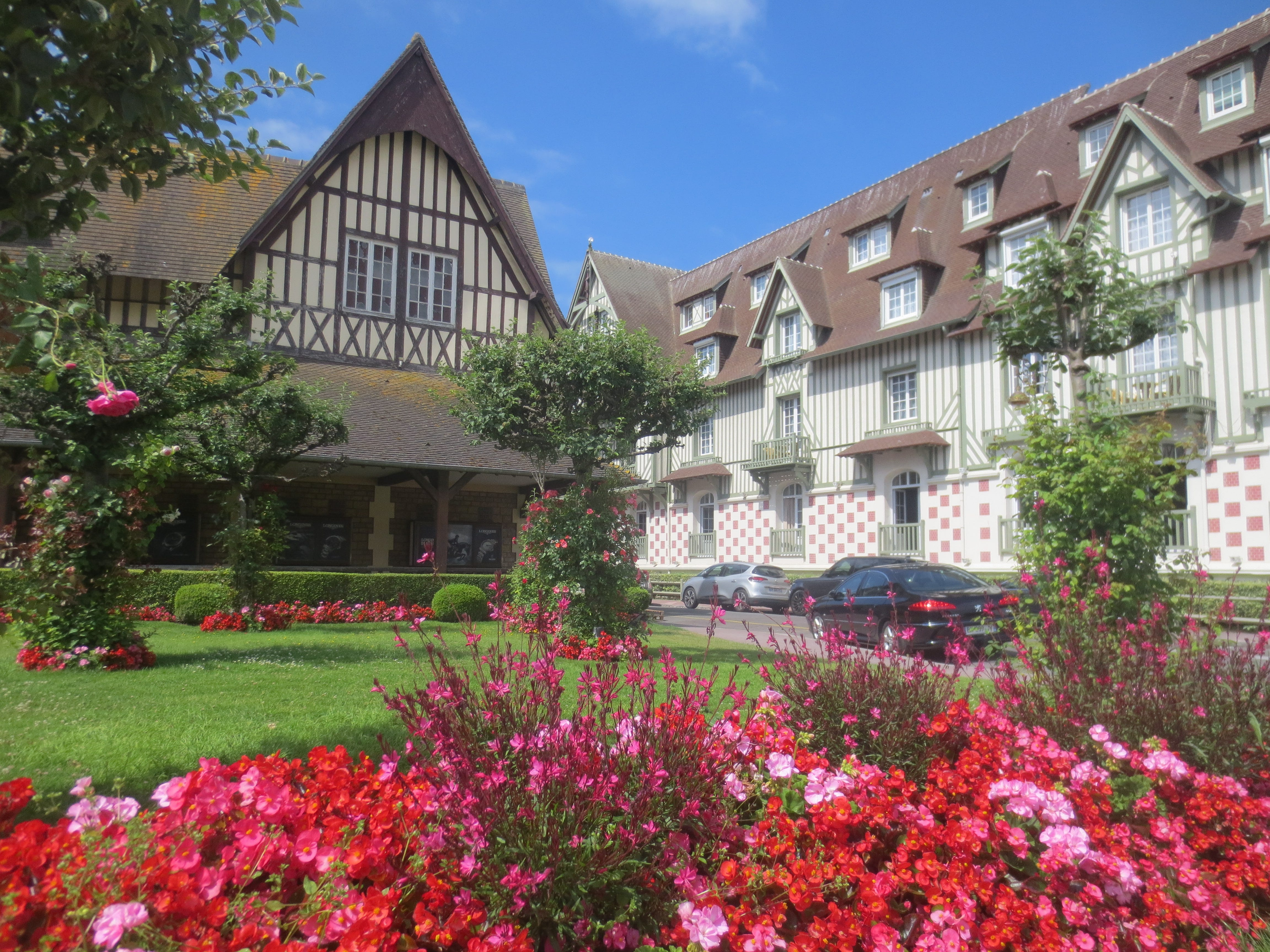 The traditional half-timbered architecture of Normandy, France, in the city of Deauville.