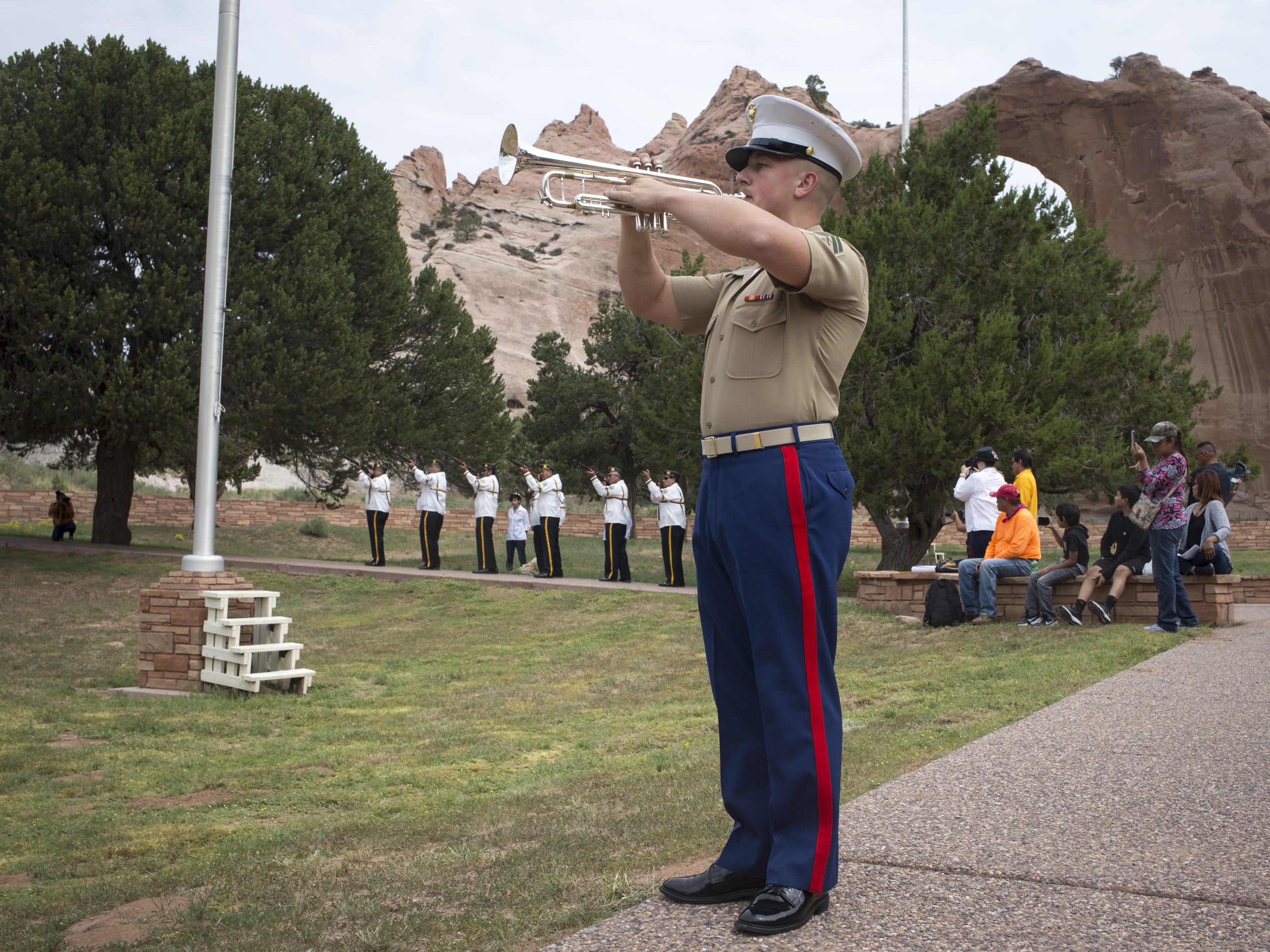 Cpl. Christopher Lyman plays the taps during the Navajo Nation Code Talkers Day ceremony on Aug. 14, 2018, at the Veterans Memorial Park in Window Rock.
