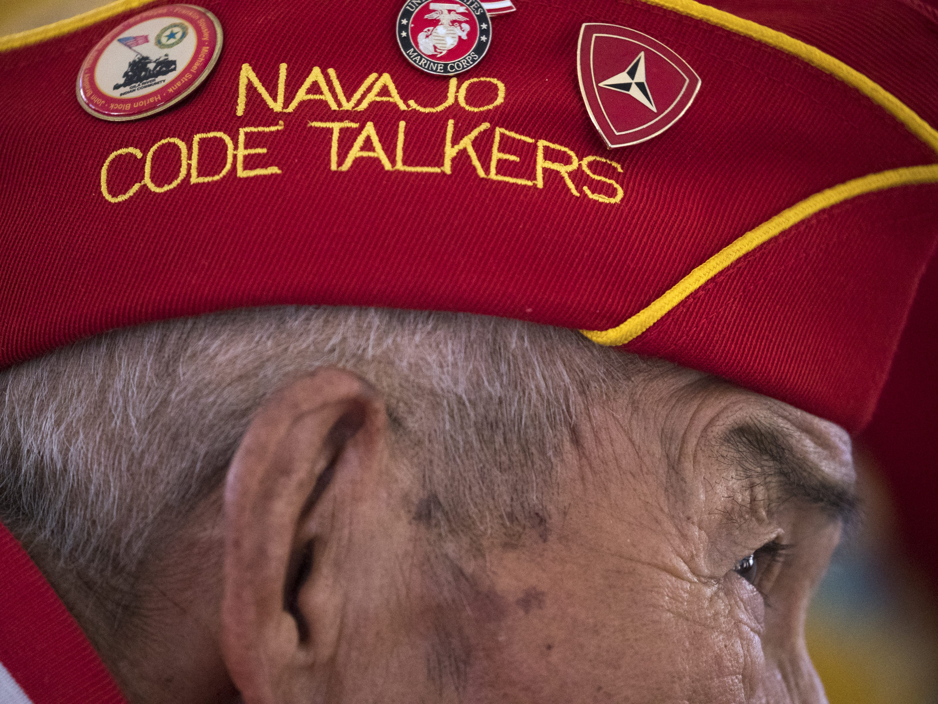 Navajo Code Talker Alfred K. Newman listens to the Marine Forces Reserve Band during the Navajo Nation Code Talkers Day parade on Aug. 14, 2018, at the Navajo Nation Fairgrounds in Window Rock.