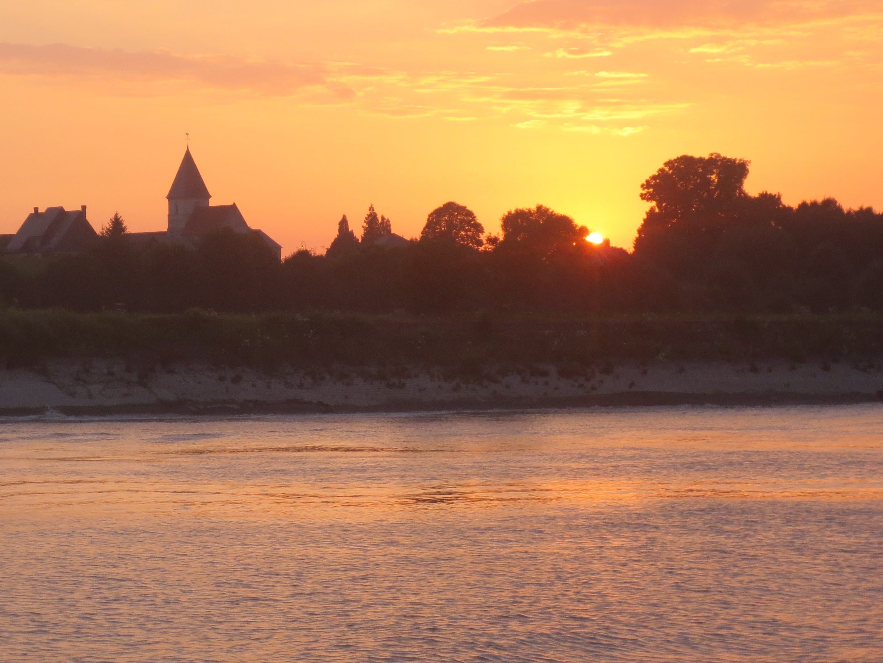 Sunset on the Seine River in Normandy. France.