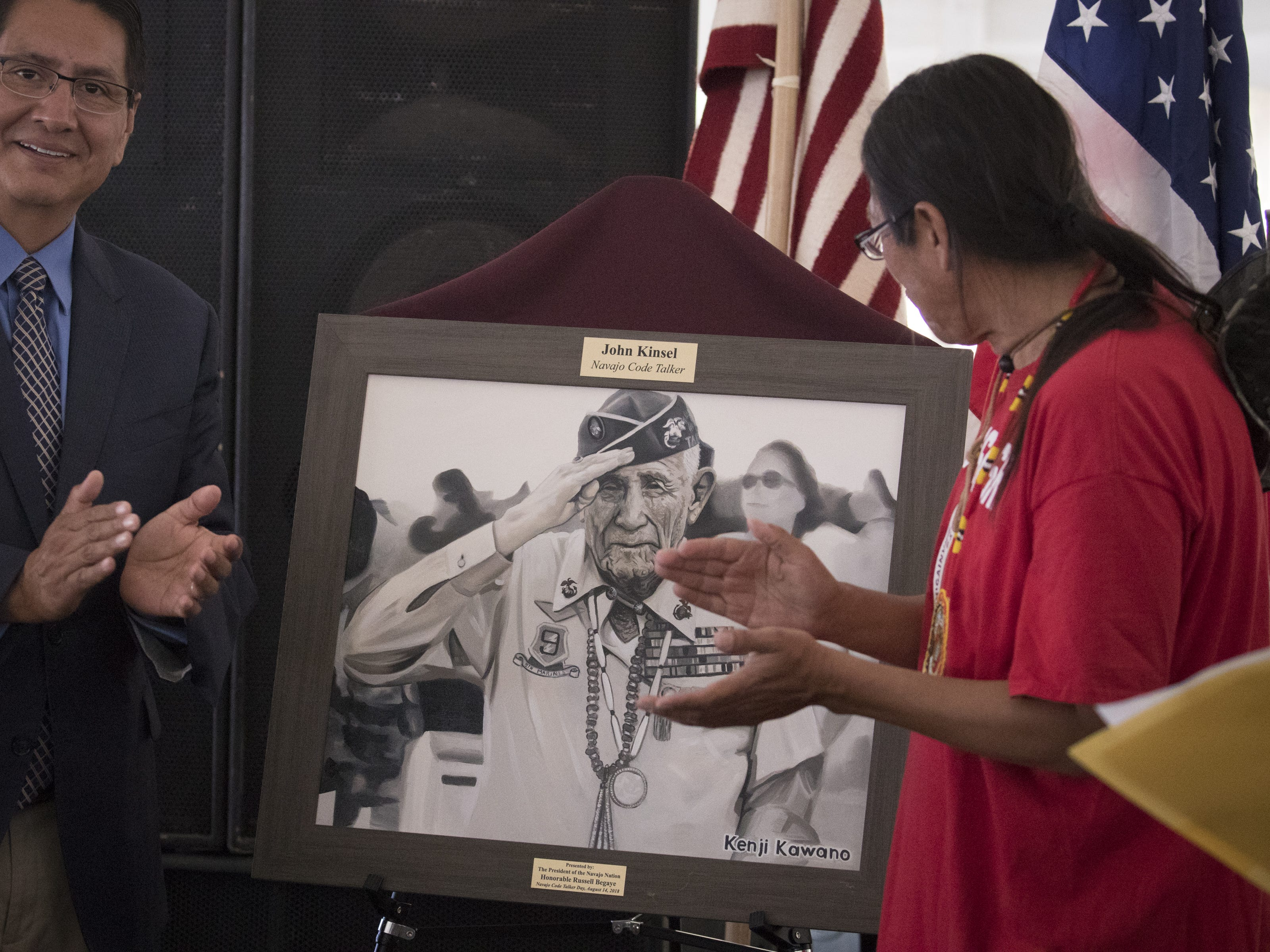 A portrait of Navajo Code Talker John Kinsel Sr. is unveiled during the Navajo Nation Code Talkers Day ceremony on Aug. 14, 2018, at the Veterans Memorial Park in Window Rock.