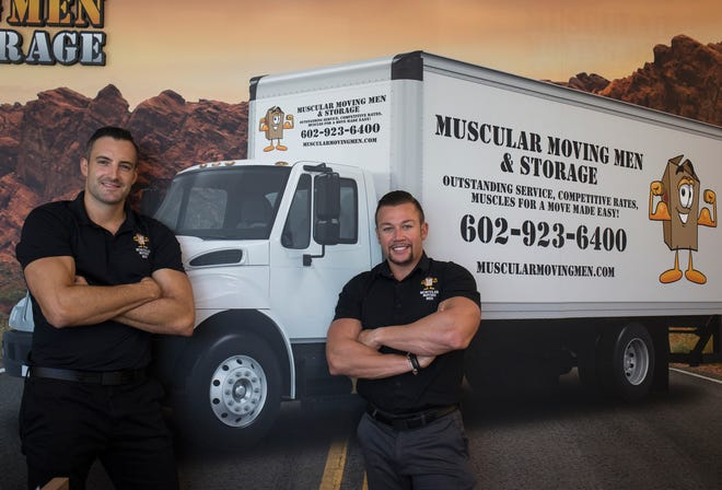 Justin Hodge (left) and Josh Jurhill are seen Aug. 7, 2018, at Muscular Moving Men in Phoenix.