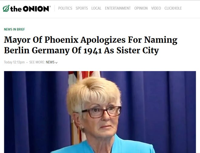 """A screenshot of the satire piece about Phoenix Mayor Thelda Williams published by """"The Onion."""""""