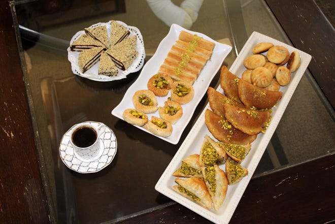 Customers can purchase sweets like maamoul and baklava from Syrian Sweets Exchange.