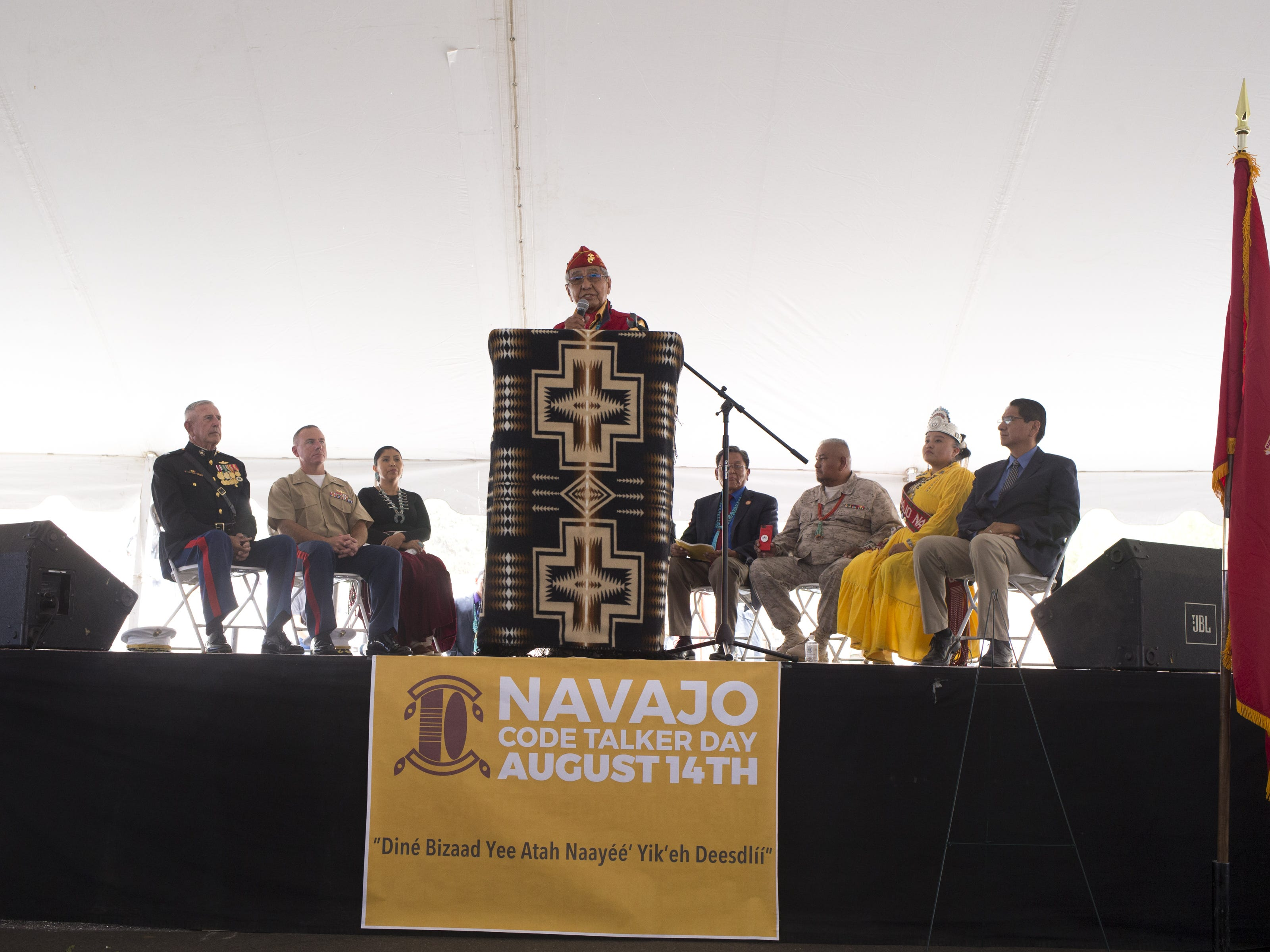 Navajo Code Talker Peter MacDonald speaks during the Navajo Nation Code Talkers Day parade on Aug. 14, 2018, at the Navajo Nation Fairgrounds in Window Rock.