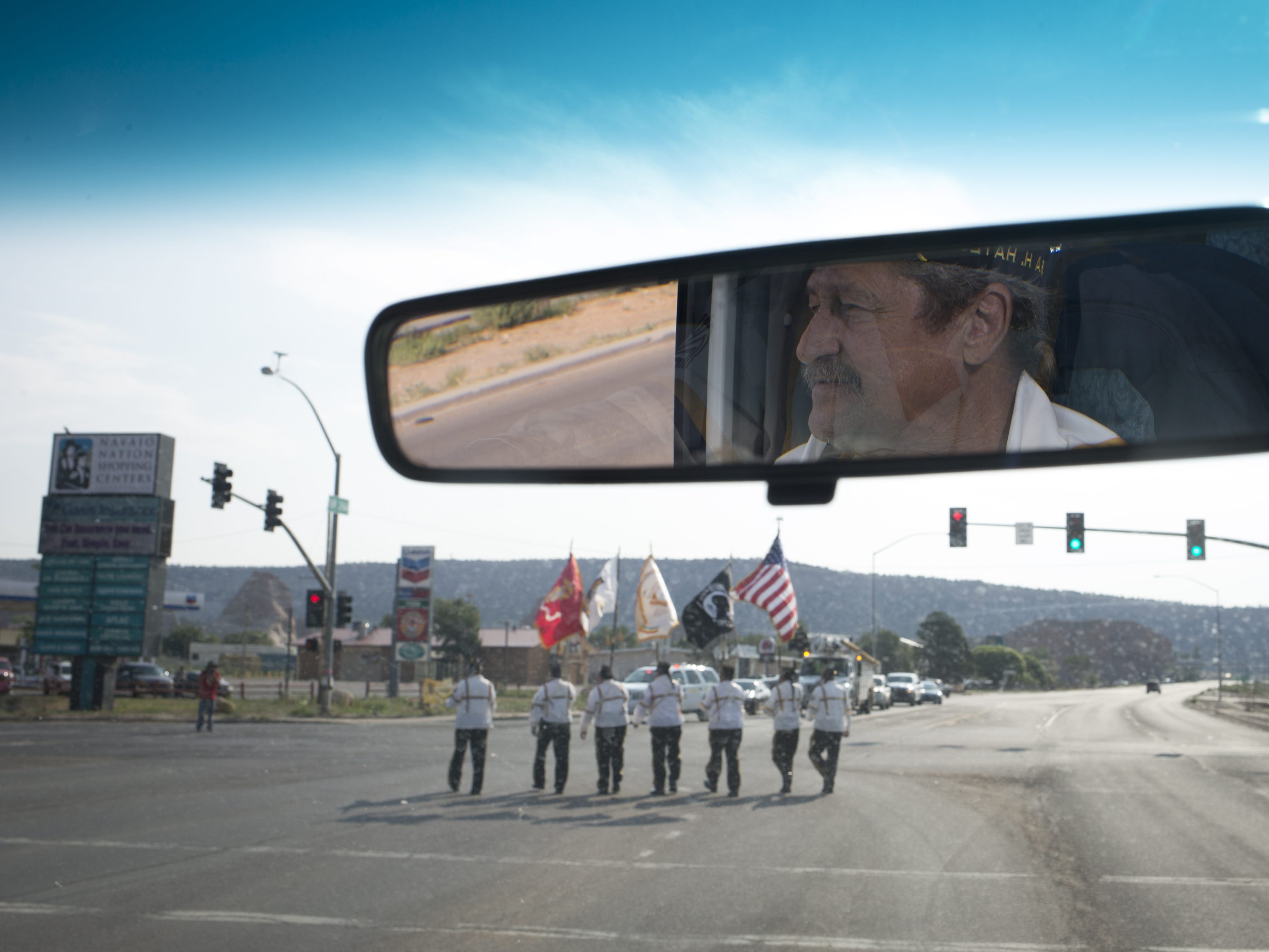 Tony McDaniel follows his Ira H. Hayes American Legion Post No. 84 Color Guard during the Navajo Nation Code Talkers Day parade on Aug. 14, 2018, at the Navajo Nation Fairgrounds in Window Rock.