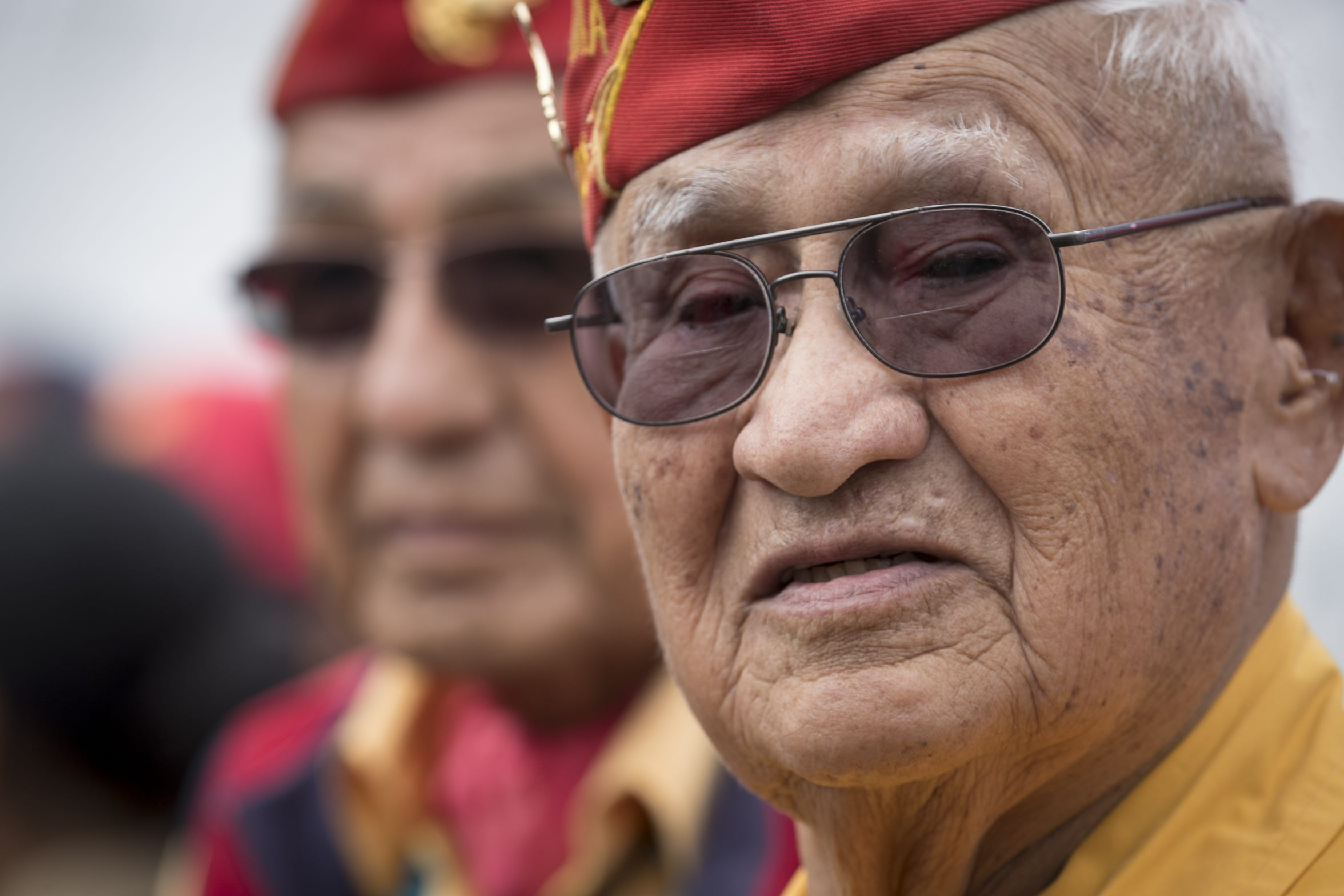 Navajo Code Talker Thomas H. Begay (right) before the start of the Navajo Nation Code Talkers Day parade on Aug. 14, 2018, at the Navajo Nation Fairgrounds in Window Rock.