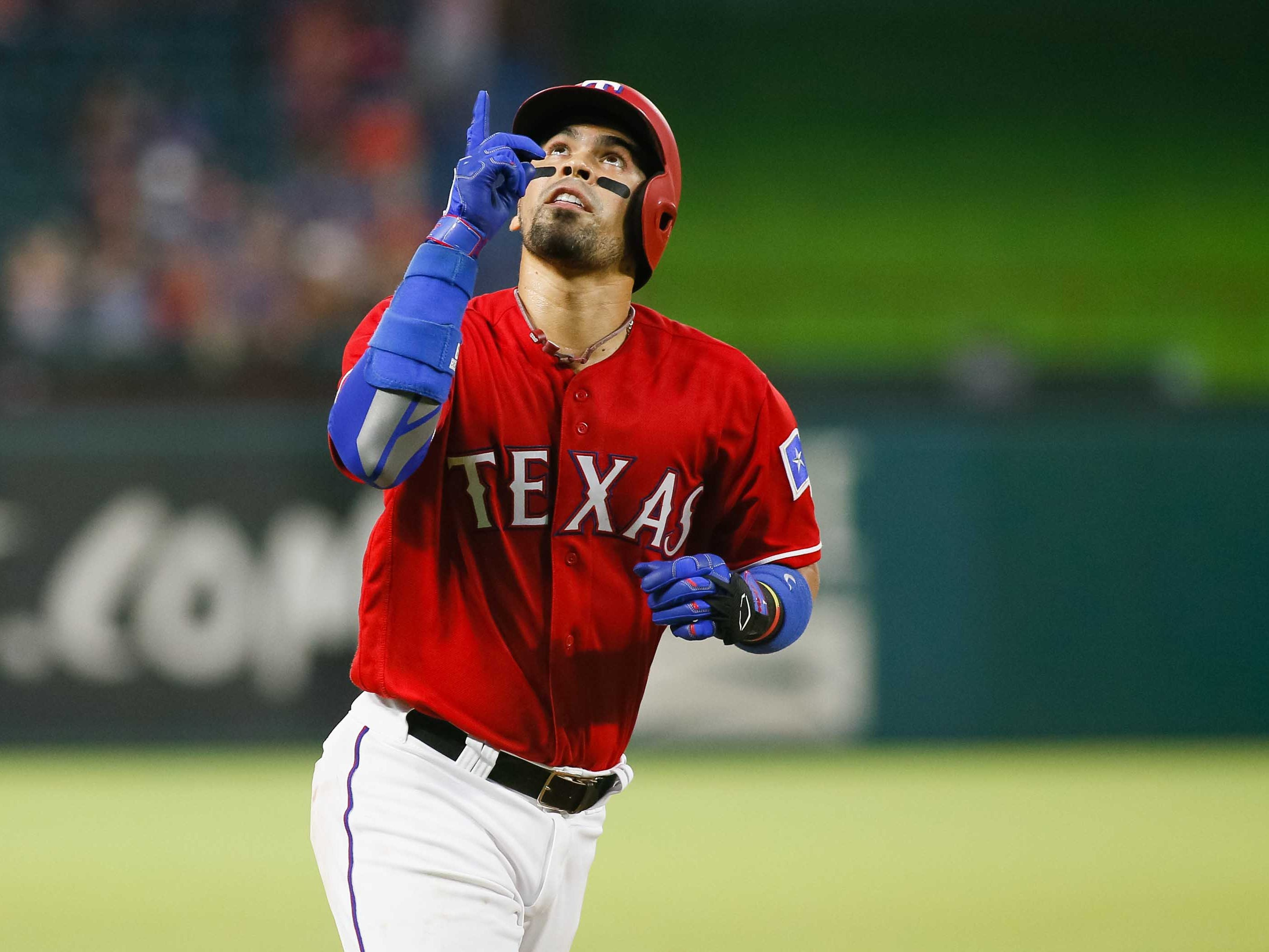 Aug 13, 2018; Arlington, TX, USA; Texas Rangers catcher Robinson Chirinos (61) reacts as he rounds third base after hitting a three-run homerun in the fourth inning against the Arizona Diamondbacks at Globe Life Park in Arlington. Mandatory Credit: Ray Carlin-USA TODAY Sports