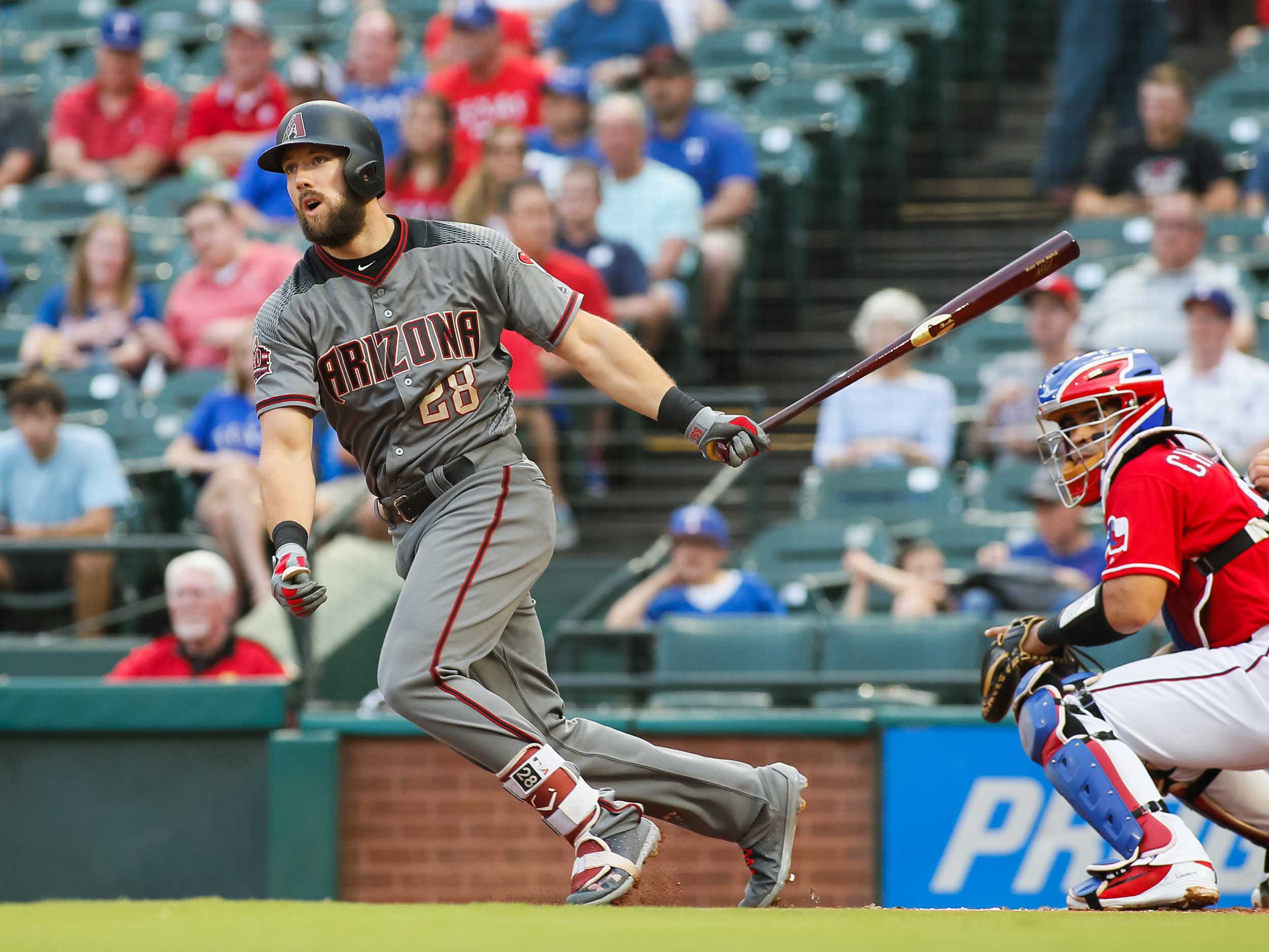 Aug 13, 2018; Arlington, TX, USA; Arizona Diamondbacks right fielder Steven Souza Jr. (28) hits an RBI double in the first inning against the Texas Rangers at Globe Life Park in Arlington. Mandatory Credit: Ray Carlin-USA TODAY Sports