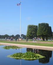 The reflecting pool at the Normandy American Cemetery near Omaha Beach in Normandy, France.