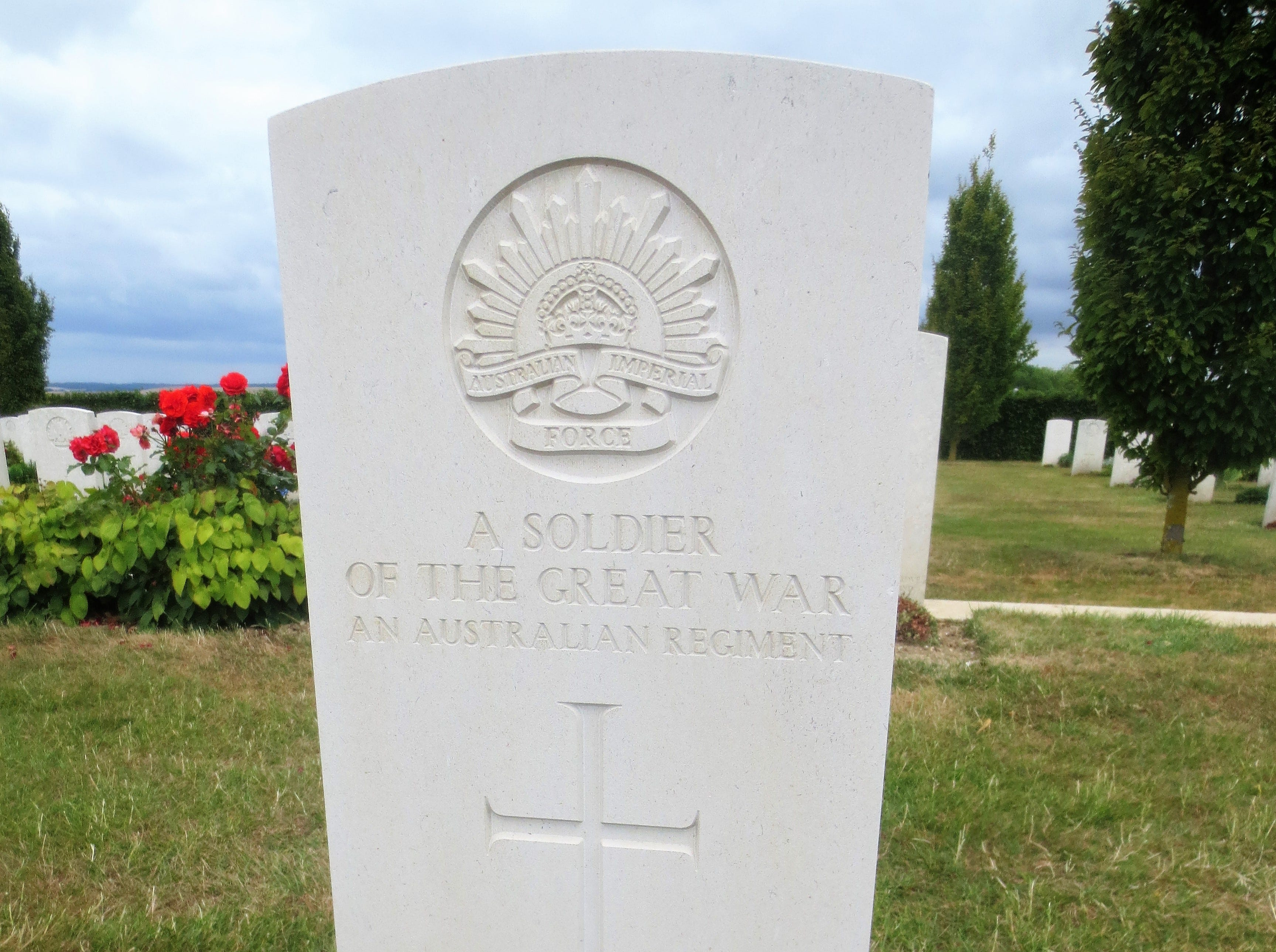 The grave of an unidentified soldier at the World War I Australian National Memorial in Villers-Bretonneux, France.