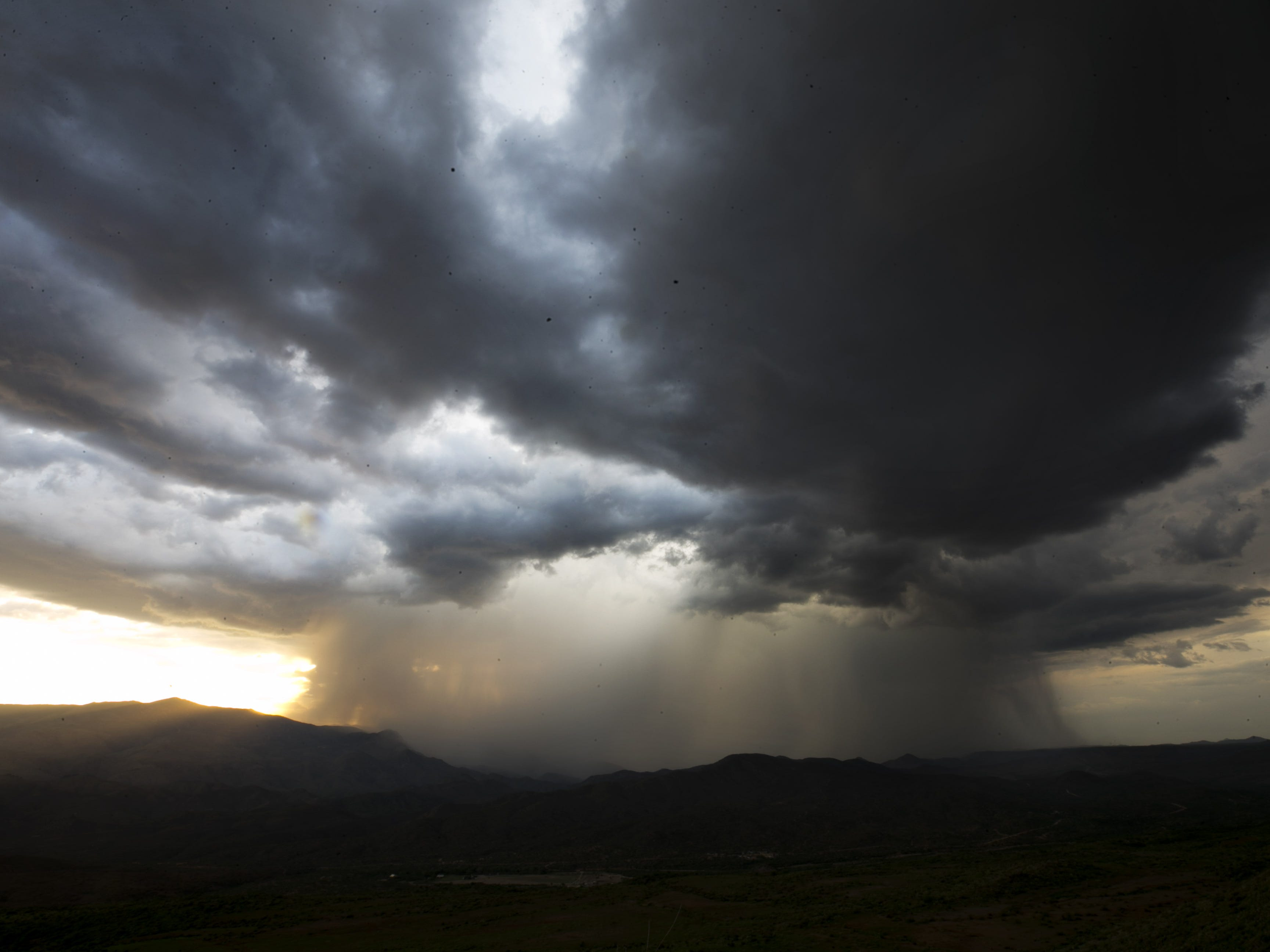 A monsoon storm moves in as seen from the Sunset Point Rest Area outside Black Canyon City on Aug. 13, 2018.