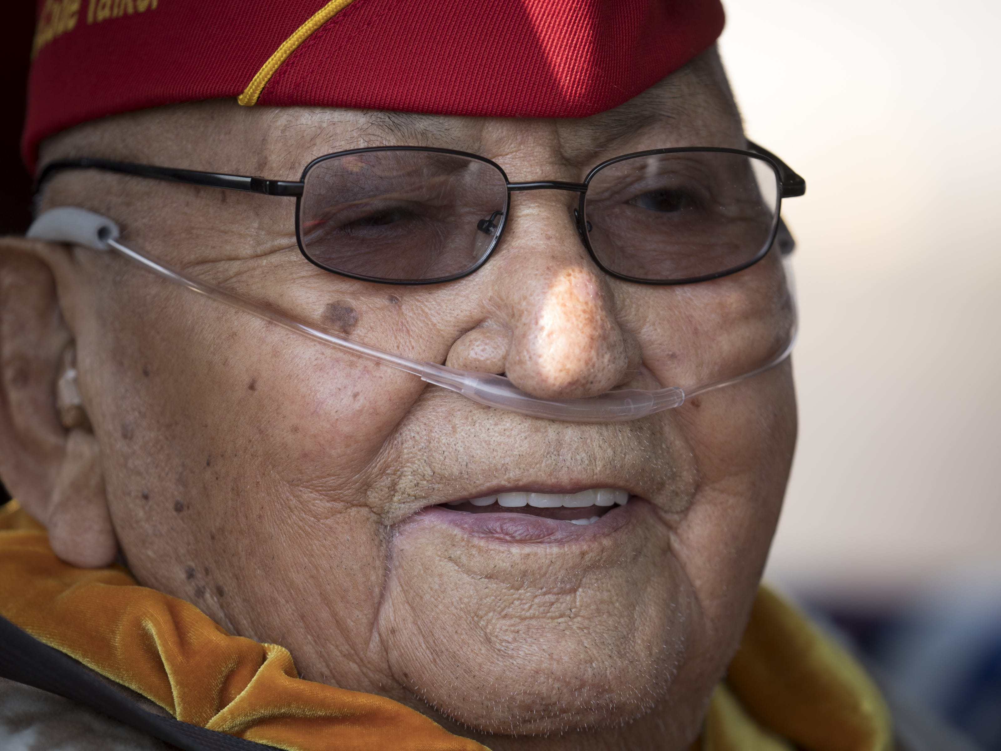Navajo Code Talker Joe Vandever, Sr waits for the start of the Navajo Nation Code Talkers Day parade on Aug. 14, 2018, at the Navajo Nation Fairgrounds in Window Rock.