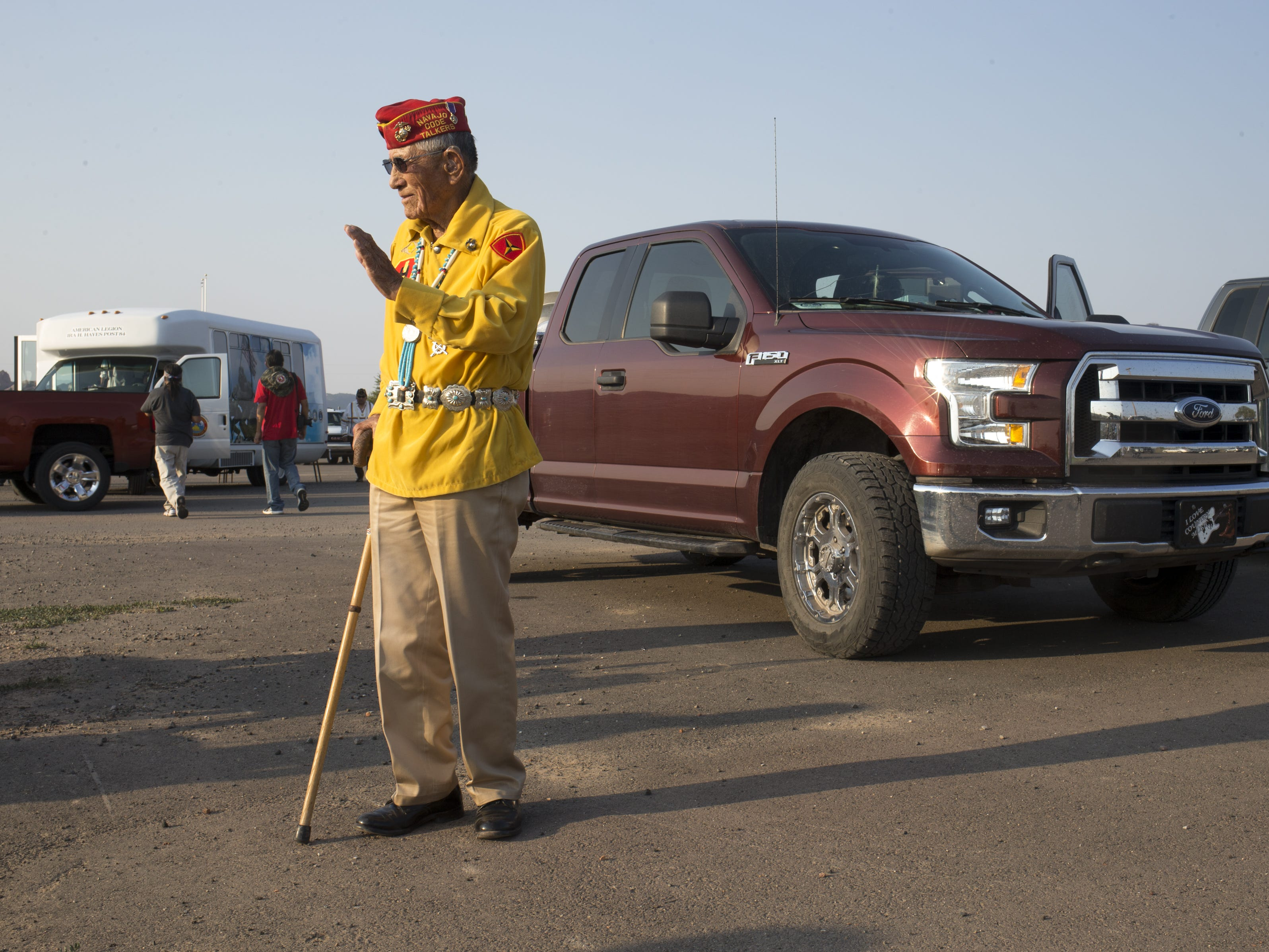 Navajo Code Talker John Kinsel, Sr. waits for the start of the Navajo Nation Code Talkers Day parade on Aug. 14, 2018, at the Navajo Nation Fairgrounds in Window Rock.