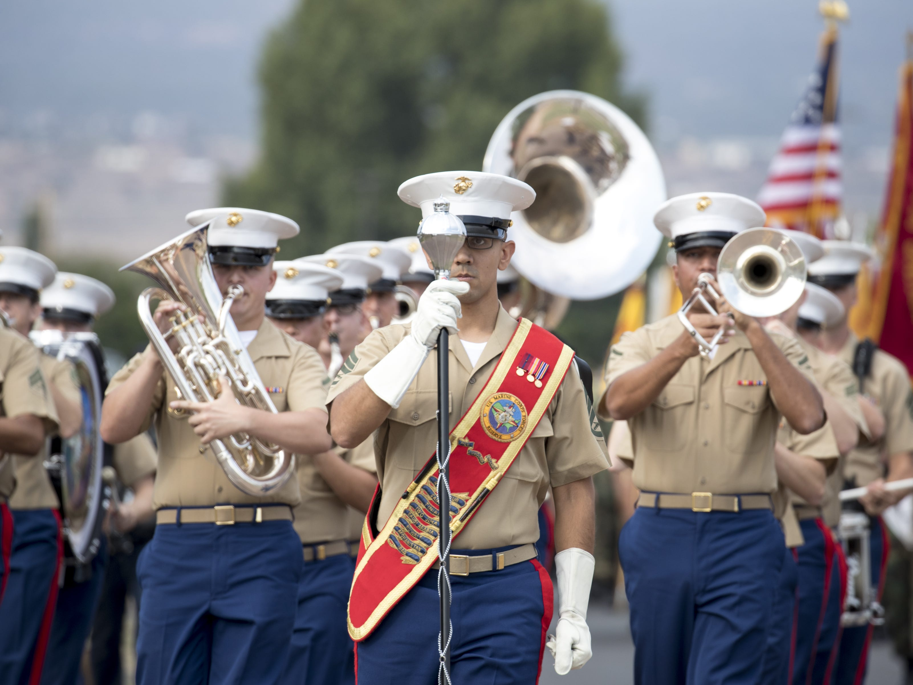 The Marine Forces Reserve Band performs, August 13, 2018, during the Navajo Nation Code Talkers Day parade on Aug. 14, 2018, at the Navajo Nation Fairgrounds in Window Rock.