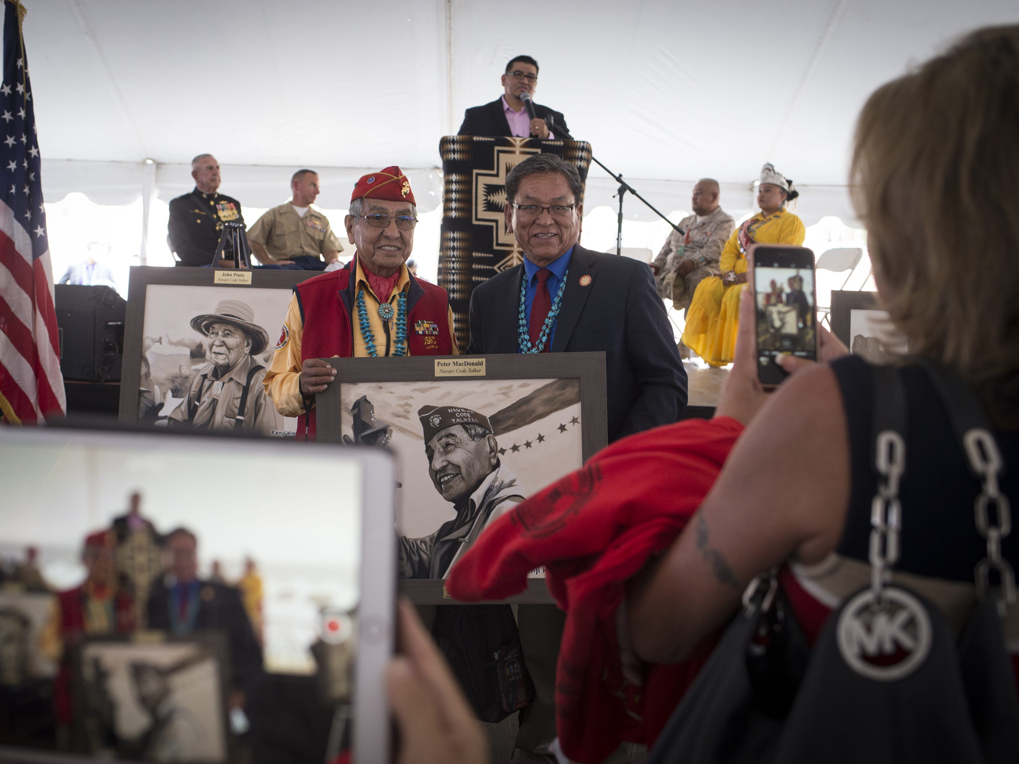 Navajo Code Talker Peter MacDonald (left) is photographed with Navajo Nation President Russell Begaye (right) during the Navajo Nation Code Talkers Day ceremony on Aug. 14, 2018, at the Veterans Memorial Park in Window Rock.