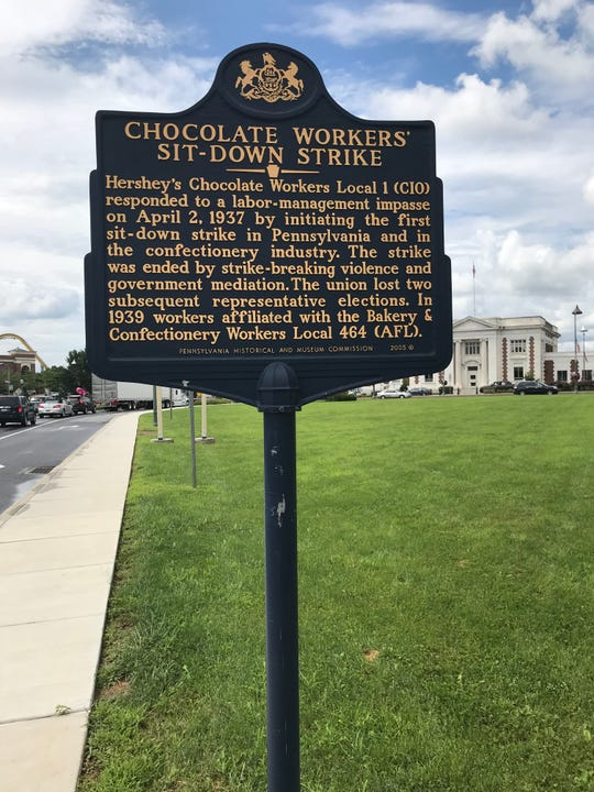 This sign on Cocoa Avenue in Hershey commemorates the historic 1937 sit-down strike.