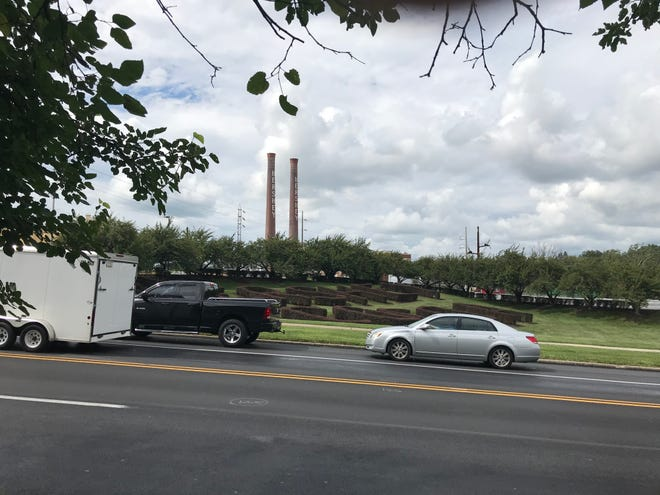 The historic Hershey smokestacks and hedges, pictured on August 14, 2018.