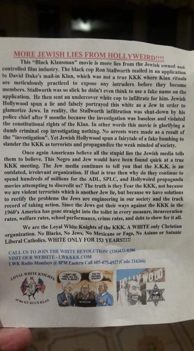 KKK flyer in West Manchester Township