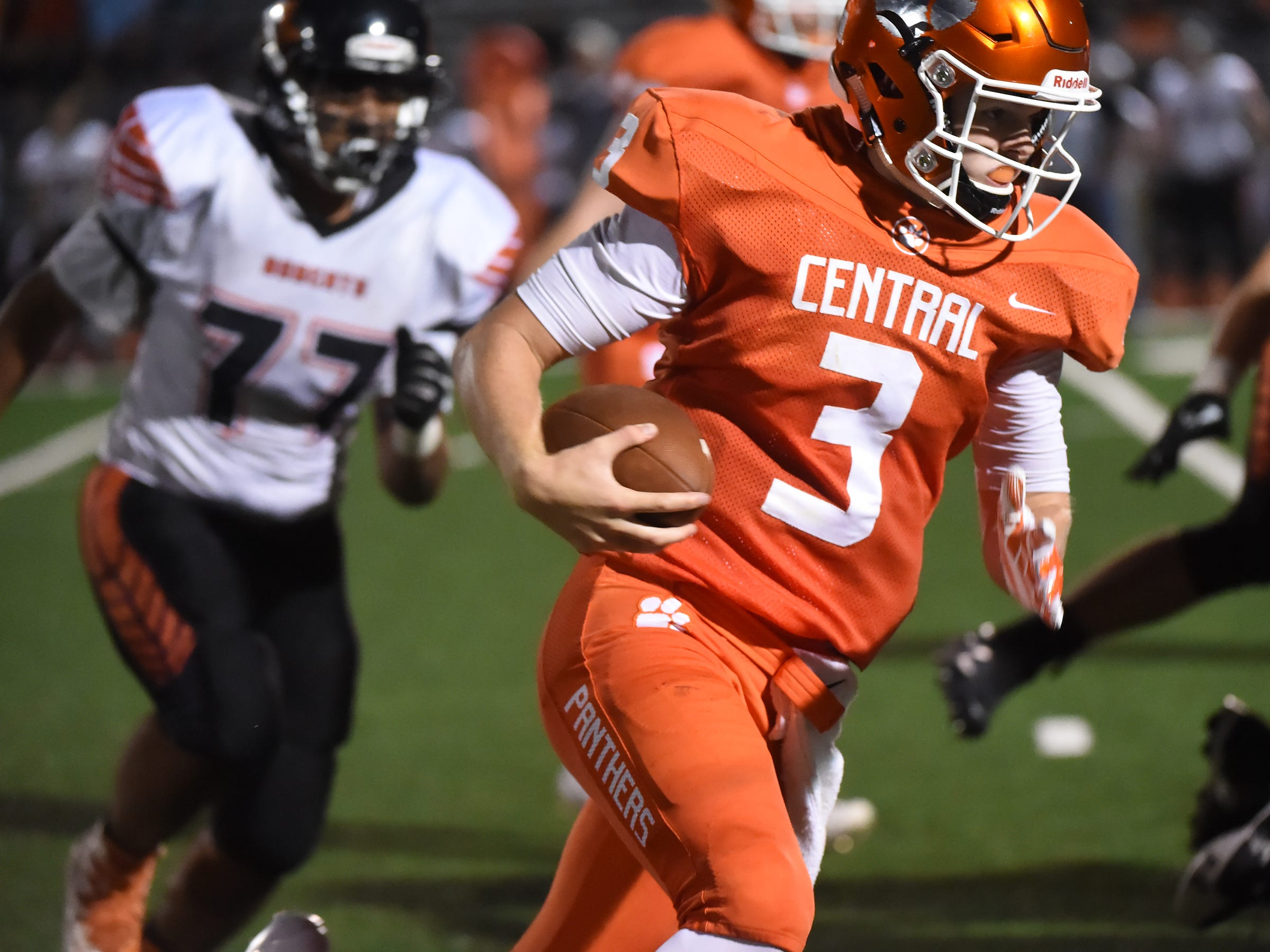Central York QB Cade Pribula cuts to the outside during the Panthers' game against Northeastern High School on Friday, Sept. 22, 2017.