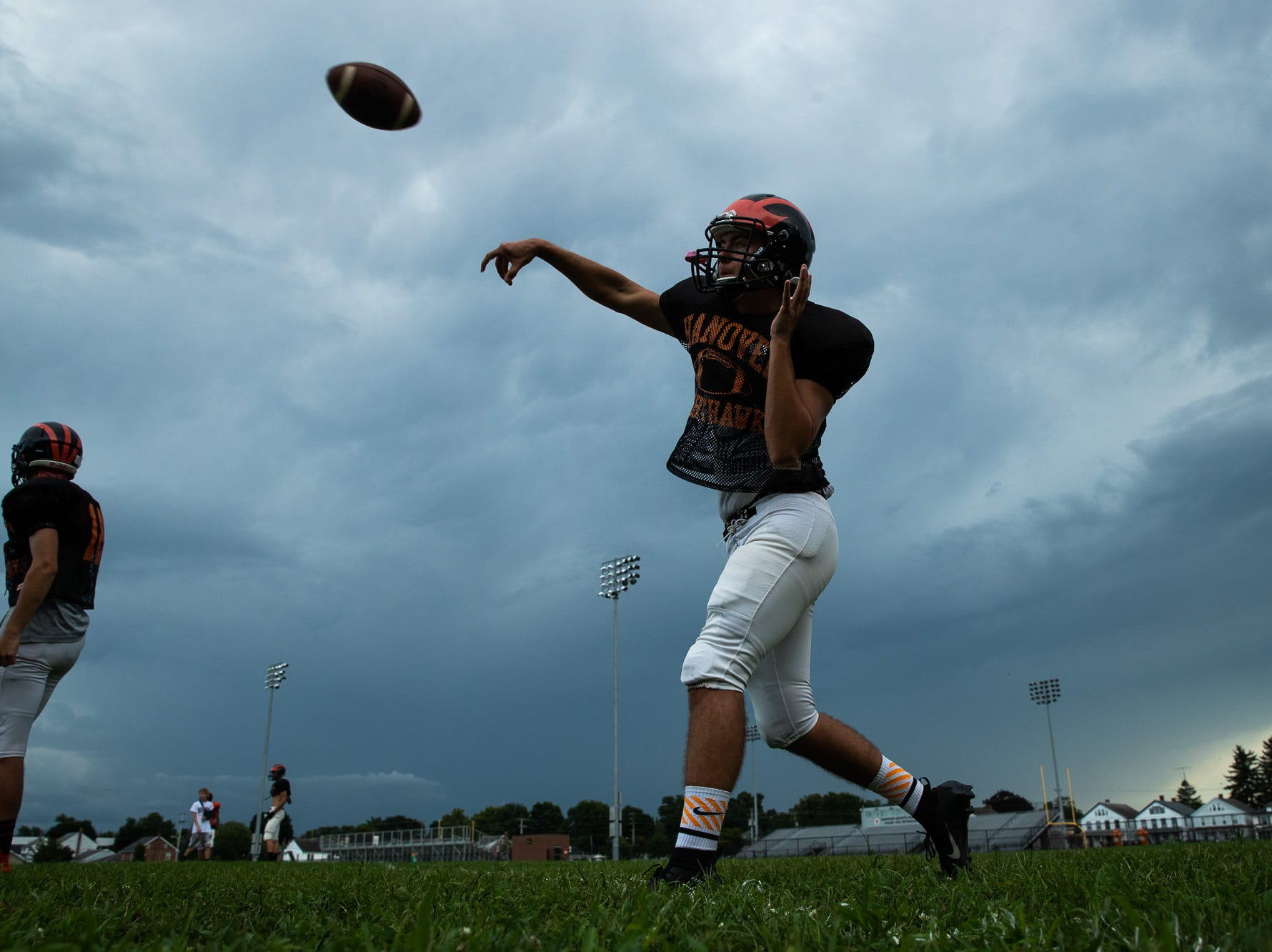 The Hanover High School football team practices on the first day of fall sports practice, Monday, Aug. 13, 2018, at the Sheppard-Meyers Stadium.
