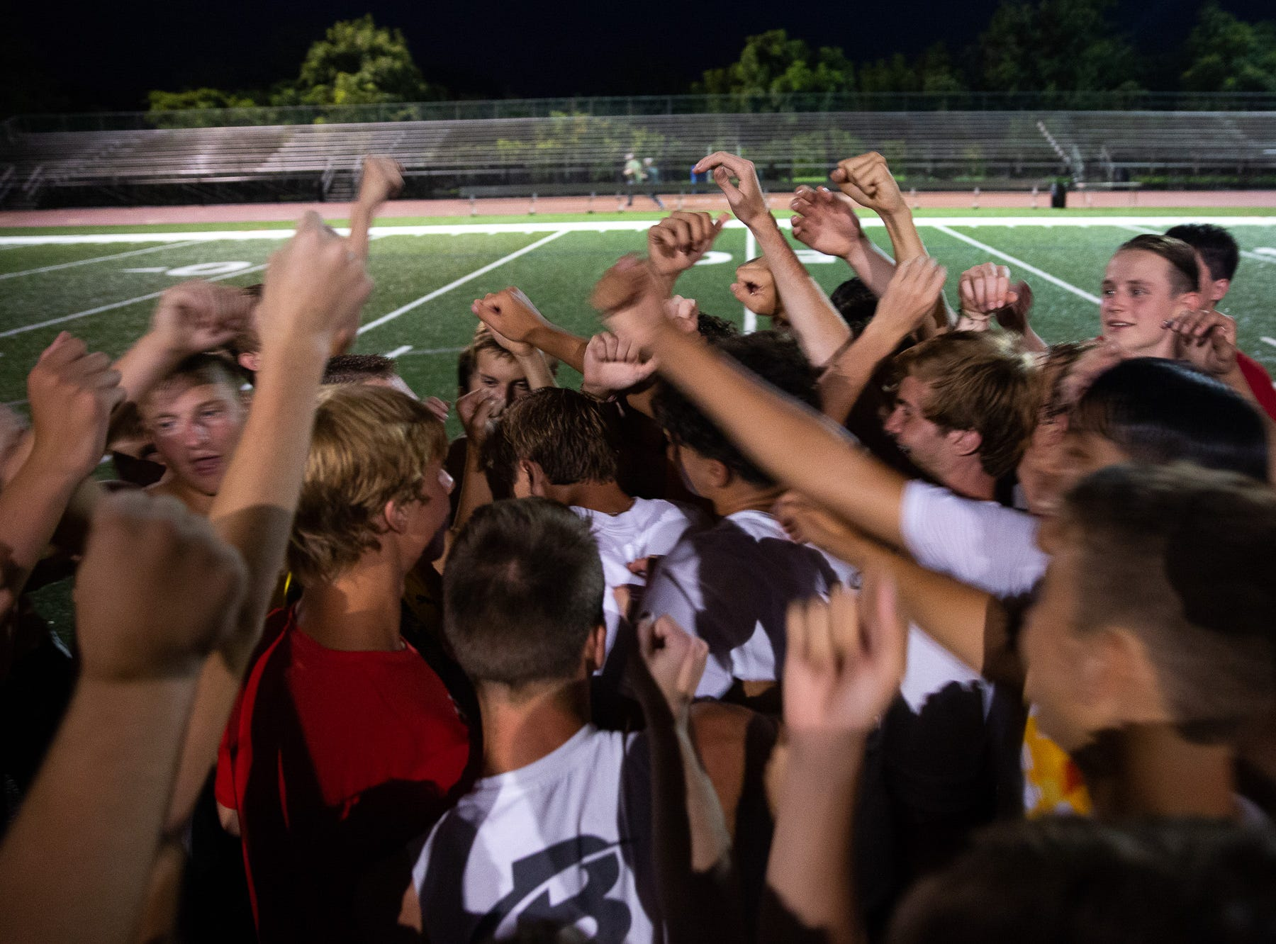 The South Western Boys Soccer team break it out on the first day of fall sports practice, Monday, Aug. 13, 2018, at South Western High School.